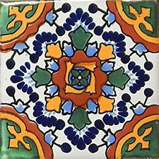 6 PCS Talavera 6X6 Handmade Ceramic Tile Mexican C177