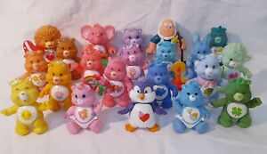 """1980's CARE BEARS VINTAGE PVC 3 1/2"""" POSABLE FIGURES KENNER"""
