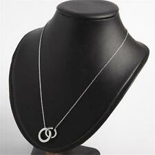 Michael Kors Crystal Pave Circle Necklace Silver Tone