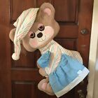 "Vintage Teddy Beddy Bear Morgan Inc. Rare Baby Nursery Wall Hanging 33"" 1980s"
