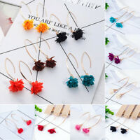 Women Bohemian Charming Flower Tassel Hook Long Earrings Dangle Eardrop Jewelry