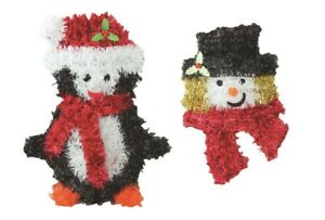 Tinsel Wall Door Hanging Christmas Decorations  set of 2 Penquin & Snowman Face