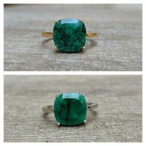 925 Sterling Silver Certified Handmade 7 Ct Emerald Cluster Ring For Beloved