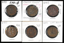 SIX SHIPS COLONIES TOKENS with LEE NUMBERS (ex OLD TIME COLLECTION) NO RESERVE