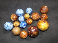 lot of 16 beautiful antique handmade ceramic Bennington collector Marbles decor