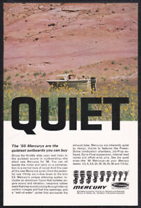 1966 Mercury outboard motor print ad boat on land, wildflowers