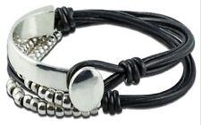 handgemachtes Leder Wickel Armband schwarz silber Perlen Knoten Damen (TG00497)