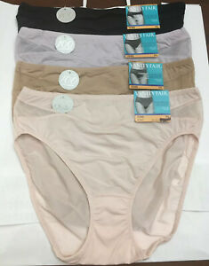 NEW VANITY FAIR Light Airy Breathable Luxe Panties Hi-Cut Soft 4 PAIR 7/L