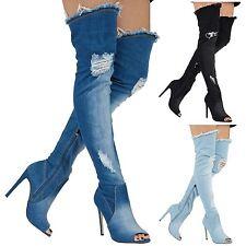 Jayda Womens Thigh High Heels Stilettos Over Knee Boots Denim Ladies Shoes Size