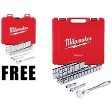 Milwaukee 48-22-9010 Ratchet & Socket Set SAE & Metric + Bonus 3/8 Metric Set