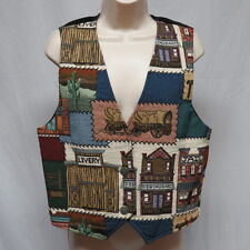 Rafaella Western Town Themed Lined Embroidered Vest Size M