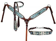 Showman Turquoise Aztec Print Pearl Leather Bridle Headstall Breast Collar Reins