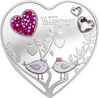 2021 Cook Islands $5 Happy Valentine's Day Swarovski 20g Silver Coin - 2021 Made