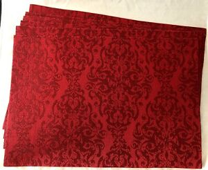 Set Of 6 RED Rectangular Christmas Holiday Woven Plastic Thread Placemats