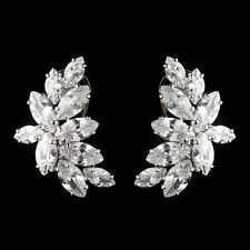 Rhodium Clear Cluster Cz Crystal Earrings #2420 Antique Silver