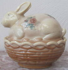 Bunny Rabbit on Basket Dish w/ Roses - Chocolate Glass - Mosser Rosso USA