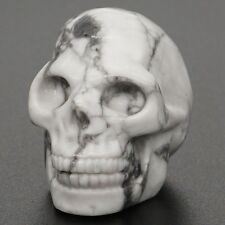"""1.3""""  Natural White Howlite Turquois Crystal Exquisite Hand Carved Human Skull"""