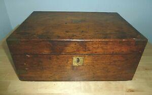 Antique Veneered Writing Desk Slope Box Inkwell Brass Corners & Details Repair