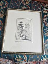 "Harriet Roudebush, 1908-1998, Etching on Paper, ""Chinatown"", 4x6"