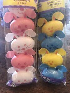 "Plastic Easter Egg Print Eggs Shaped like Bunnies- Set of 12-- 2.5"""
