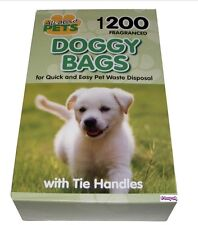 1200  Fragranced Doggy Poo Bags ~ Black with Tie Handles (small dogs)