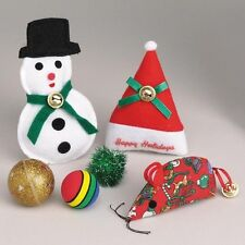 Zanies Cat Toy CATNIP BELLS Holiday Value Toy Pack 6 Toys Snowman Mouse