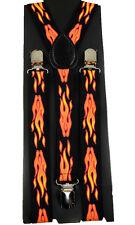 "Unisex Clip-on Braces Elastic ""Fire"" Y-back Suspender"