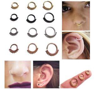 Nose Ring Cuff Hoop Stud Eyebrow Cartilage Tragus Septum Helix Daith Piercing