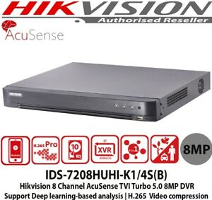 Latest HIKVISION IDS-7208HUHI-K1/4S(B) 8 Channel DVR H.265 UP TO 8MP