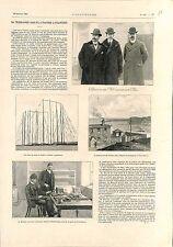 Télégraphe sans Fils Atlantique Guglielmo Marconi Poste Terre-Neuve GRAVURE 1902
