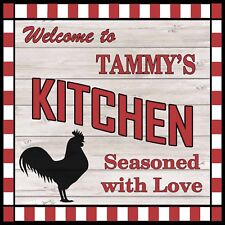 TAMMY'S Kitchen Welcome to Rooster Chic Wall Art Decor 12x12 Metal Sign SS75