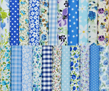 50 X 4 INCH PATCHWORK FABRIC SQUARES REMNANTS SEWING CRAFT MATERIAL ** BLUE MIX