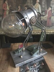 STEAMPUNK INDUSTRIAL ROBOT DESIGN RUSTIC MACHINE AGE METAL TABLE LAMP NEW BOXED