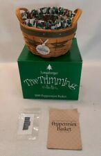 ☆ Longaberger 1999 Tree Trimming Peppermint Basket Liner Protector & Tie-On F/S