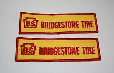 2 Vintage Racing Car Bridgestone Tire Auto Cloth Jacket Patch 1960s NOS New