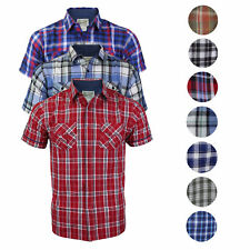 Overdrive Men's Cotton Plaid Button Up Casual Short Sleeve Slim Fit Dress Shirt