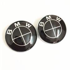 2PCS 82mm Black Car Emblems Front/Rear Badges For BMW E30 E36 328i 530i Z3 Z4