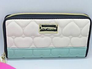 Betsey Johnson Zipper Closure Zip Around Heart Embossed Aqua Woman's Wallet New