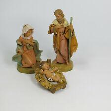 """Fontanini Nativity Baby Jesus Mary Joseph 5"""" Figure Christmas Depose Italy Rare"""