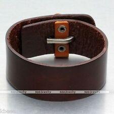Unisex Mens Punk Genuine Leather Wrap Bracelet Cuff Wristband Bangle Belt Buckle