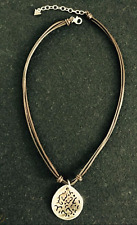Silpada Necklace N1446 925 Sterling Silver Iridescent Carved Lip Shell Leather