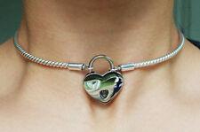 Mini Solid 925 Sterling Silver Neck Cuff Locking BDSM Slave Sub Pet Day Collar