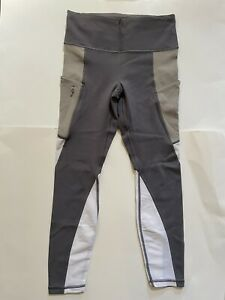 Athleta  7/8 leggins with side pockets Gray, Light Brown & White Size S