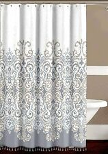 Sicily Decorative Floral Fabric Shower Curtain Elegant Grey, Bronze Fringe NWOP