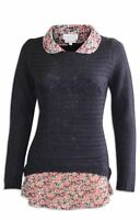 Ex NEXT Ladies Navy Blue Cable Knit Jumper and Mock Floral Shirt 2 in 1
