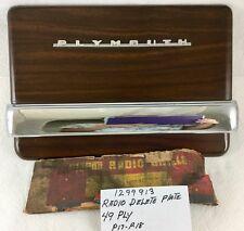 1949 Plymouth NOS MOPAR Dash Center Woodgrain Radio Delete Plate