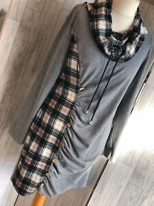 Fashion Grey Tunic Dress, Black & Red Tartan Cowl Neck & Panel, Ruched XL VGC