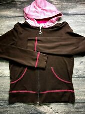 So Low Womens Zip Up Brown/Pink Long Sleeve Hooded Cotton Stretch Size Large