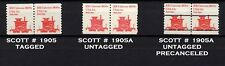 USA, Scott # 1905, 1905A, SET OF 3 PAIRS TAGGED UNTAGGED, PRECANCEL RR CABOOSE