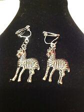 zebra clip on earrings silver plated
